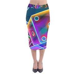 3d Cube Dice Neon Velvet Midi Pencil Skirt