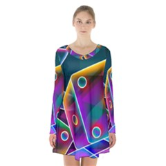 3d Cube Dice Neon Long Sleeve Velvet V Neck Dress