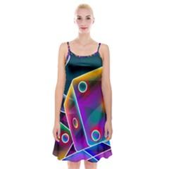 3d Cube Dice Neon Spaghetti Strap Velvet Dress
