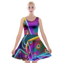 3d Cube Dice Neon Velvet Skater Dress