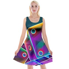 3d Cube Dice Neon Reversible Velvet Sleeveless Dress