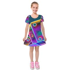 3d Cube Dice Neon Kids  Short Sleeve Velvet Dress