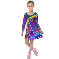 3d Cube Dice Neon Kids  Long Sleeve Velvet Dress