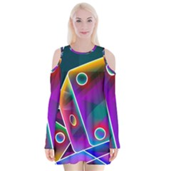 3d Cube Dice Neon Velvet Long Sleeve Shoulder Cutout Dress