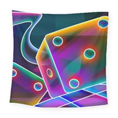 3d Cube Dice Neon Square Tapestry (large)