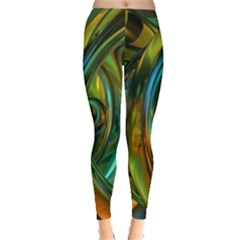 3d Transparent Glass Shapes Mixture Of Dark Yellow Green Glass Mixture Artistic Glassworks Leggings