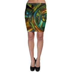 3d Transparent Glass Shapes Mixture Of Dark Yellow Green Glass Mixture Artistic Glassworks Bodycon Skirt