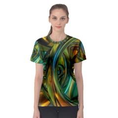3d Transparent Glass Shapes Mixture Of Dark Yellow Green Glass Mixture Artistic Glassworks Women s Sport Mesh Tee