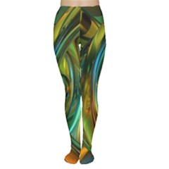 3d Transparent Glass Shapes Mixture Of Dark Yellow Green Glass Mixture Artistic Glassworks Women s Tights