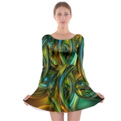 3d Transparent Glass Shapes Mixture Of Dark Yellow Green Glass Mixture Artistic Glassworks Long Sleeve Skater Dress
