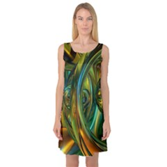 3d Transparent Glass Shapes Mixture Of Dark Yellow Green Glass Mixture Artistic Glassworks Sleeveless Satin Nightdress