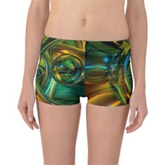3d Transparent Glass Shapes Mixture Of Dark Yellow Green Glass Mixture Artistic Glassworks Boyleg Bikini Bottoms