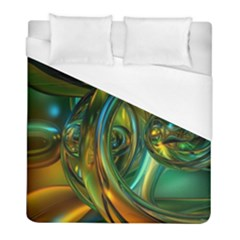 3d Transparent Glass Shapes Mixture Of Dark Yellow Green Glass Mixture Artistic Glassworks Duvet Cover (Full/ Double Size)