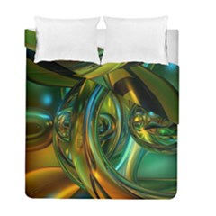 3d Transparent Glass Shapes Mixture Of Dark Yellow Green Glass Mixture Artistic Glassworks Duvet Cover Double Side (Full/ Double Size)