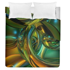 3d Transparent Glass Shapes Mixture Of Dark Yellow Green Glass Mixture Artistic Glassworks Duvet Cover Double Side (Queen Size)