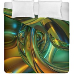 3d Transparent Glass Shapes Mixture Of Dark Yellow Green Glass Mixture Artistic Glassworks Duvet Cover Double Side (King Size)