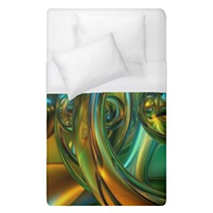3d Transparent Glass Shapes Mixture Of Dark Yellow Green Glass Mixture Artistic Glassworks Duvet Cover (Single Size)