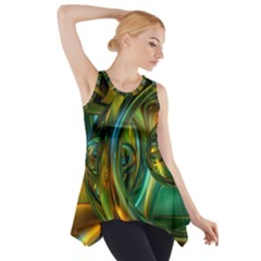 3d Transparent Glass Shapes Mixture Of Dark Yellow Green Glass Mixture Artistic Glassworks Side Drop Tank Tunic