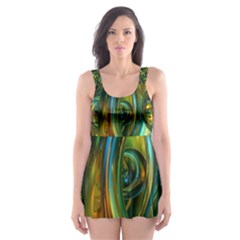 3d Transparent Glass Shapes Mixture Of Dark Yellow Green Glass Mixture Artistic Glassworks Skater Dress Swimsuit
