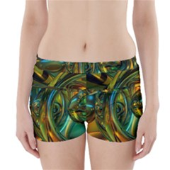 3d Transparent Glass Shapes Mixture Of Dark Yellow Green Glass Mixture Artistic Glassworks Boyleg Bikini Wrap Bottoms