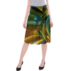 3d Transparent Glass Shapes Mixture Of Dark Yellow Green Glass Mixture Artistic Glassworks Midi Beach Skirt
