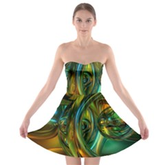 3d Transparent Glass Shapes Mixture Of Dark Yellow Green Glass Mixture Artistic Glassworks Strapless Bra Top Dress