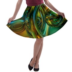 3d Transparent Glass Shapes Mixture Of Dark Yellow Green Glass Mixture Artistic Glassworks A-line Skater Skirt