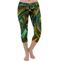 3d Transparent Glass Shapes Mixture Of Dark Yellow Green Glass Mixture Artistic Glassworks Capri Yoga Leggings