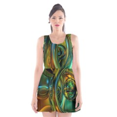 3d Transparent Glass Shapes Mixture Of Dark Yellow Green Glass Mixture Artistic Glassworks Scoop Neck Skater Dress