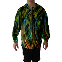 3d Transparent Glass Shapes Mixture Of Dark Yellow Green Glass Mixture Artistic Glassworks Hooded Wind Breaker (Kids)
