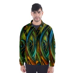 3d Transparent Glass Shapes Mixture Of Dark Yellow Green Glass Mixture Artistic Glassworks Wind Breaker (Men)