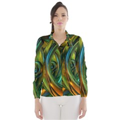 3d Transparent Glass Shapes Mixture Of Dark Yellow Green Glass Mixture Artistic Glassworks Wind Breaker (Women)