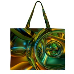 3d Transparent Glass Shapes Mixture Of Dark Yellow Green Glass Mixture Artistic Glassworks Large Tote Bag