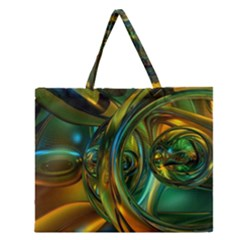 3d Transparent Glass Shapes Mixture Of Dark Yellow Green Glass Mixture Artistic Glassworks Zipper Large Tote Bag
