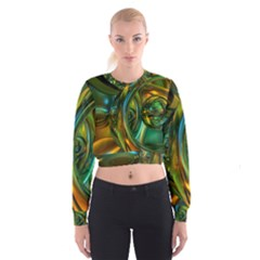 3d Transparent Glass Shapes Mixture Of Dark Yellow Green Glass Mixture Artistic Glassworks Women s Cropped Sweatshirt
