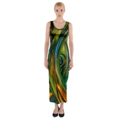3d Transparent Glass Shapes Mixture Of Dark Yellow Green Glass Mixture Artistic Glassworks Fitted Maxi Dress