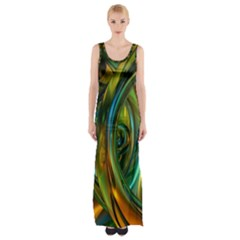 3d Transparent Glass Shapes Mixture Of Dark Yellow Green Glass Mixture Artistic Glassworks Maxi Thigh Split Dress
