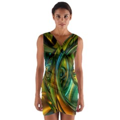 3d Transparent Glass Shapes Mixture Of Dark Yellow Green Glass Mixture Artistic Glassworks Wrap Front Bodycon Dress