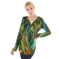 3d Transparent Glass Shapes Mixture Of Dark Yellow Green Glass Mixture Artistic Glassworks Women s Tie Up Tee
