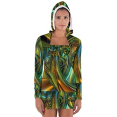 3d Transparent Glass Shapes Mixture Of Dark Yellow Green Glass Mixture Artistic Glassworks Women s Long Sleeve Hooded T-shirt