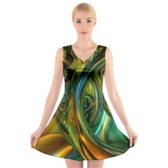3d Transparent Glass Shapes Mixture Of Dark Yellow Green Glass Mixture Artistic Glassworks V-Neck Sleeveless Skater Dress