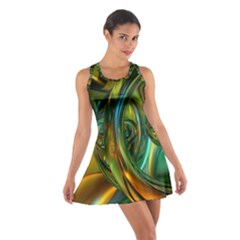 3d Transparent Glass Shapes Mixture Of Dark Yellow Green Glass Mixture Artistic Glassworks Cotton Racerback Dress