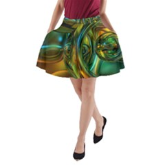 3d Transparent Glass Shapes Mixture Of Dark Yellow Green Glass Mixture Artistic Glassworks A-Line Pocket Skirt