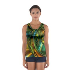 3d Transparent Glass Shapes Mixture Of Dark Yellow Green Glass Mixture Artistic Glassworks Women s Sport Tank Top