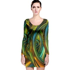 3d Transparent Glass Shapes Mixture Of Dark Yellow Green Glass Mixture Artistic Glassworks Long Sleeve Velvet Bodycon Dress