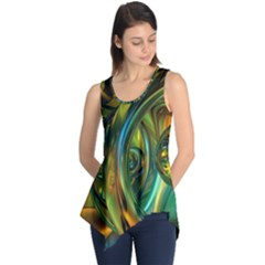3d Transparent Glass Shapes Mixture Of Dark Yellow Green Glass Mixture Artistic Glassworks Sleeveless Tunic