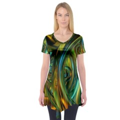 3d Transparent Glass Shapes Mixture Of Dark Yellow Green Glass Mixture Artistic Glassworks Short Sleeve Tunic