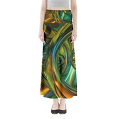 3d Transparent Glass Shapes Mixture Of Dark Yellow Green Glass Mixture Artistic Glassworks Maxi Skirts