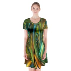 3d Transparent Glass Shapes Mixture Of Dark Yellow Green Glass Mixture Artistic Glassworks Short Sleeve V-neck Flare Dress