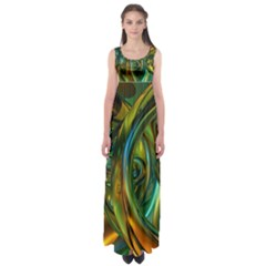 3d Transparent Glass Shapes Mixture Of Dark Yellow Green Glass Mixture Artistic Glassworks Empire Waist Maxi Dress